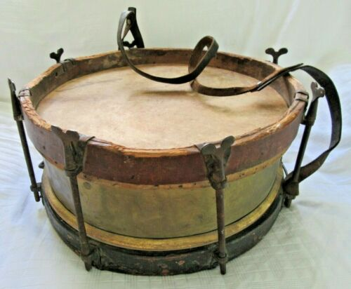 ANTIQUE 1890 MILITARY SNARE DRUM OLD PAINT BRASS SKIN HEADS COUNTRY PRIMITIVE