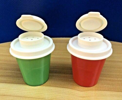 Tupperware Mini Tupper Salt & Pepper Shakers Midgets Set of 2  Green and Red New