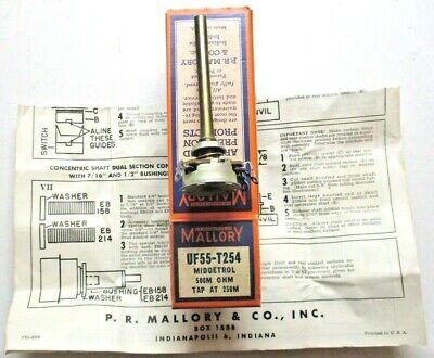 Mallory Usa Midgetrol Potentiometer Uf55-t254 500m Ohm Tap At 250m Pot Vintage