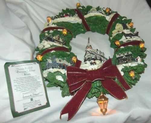 Original Box HAMILTION Collection THOMAS KINKADE Lighted CHRISTMAS Wreath 2005