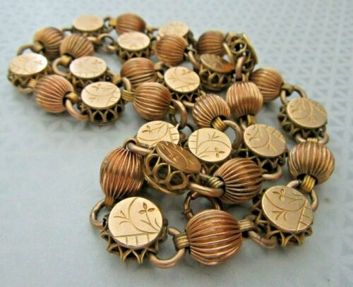 """Antique Victorian Gold Fill Book Chain Etruscan Heavy Beaded 20"""" Necklace 42 gr"""