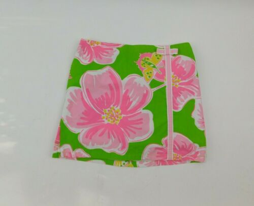 Lilly Pulitzer Girls 6X Pink Green Floral Butterfly Skort Skirt