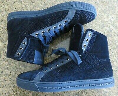 Versace Navy Velvet High Top Sneakers Sz 9 Mens / 42 EUR