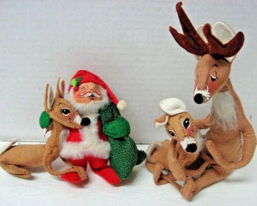 Lot 4 Annalee poseable Santa reindeer 1965 1980 1981