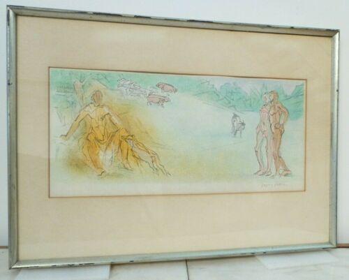 JACQUES VILLON MODERNIST LITHOGRAPH 1950s Pencil Signed RARE Les Bucoliques