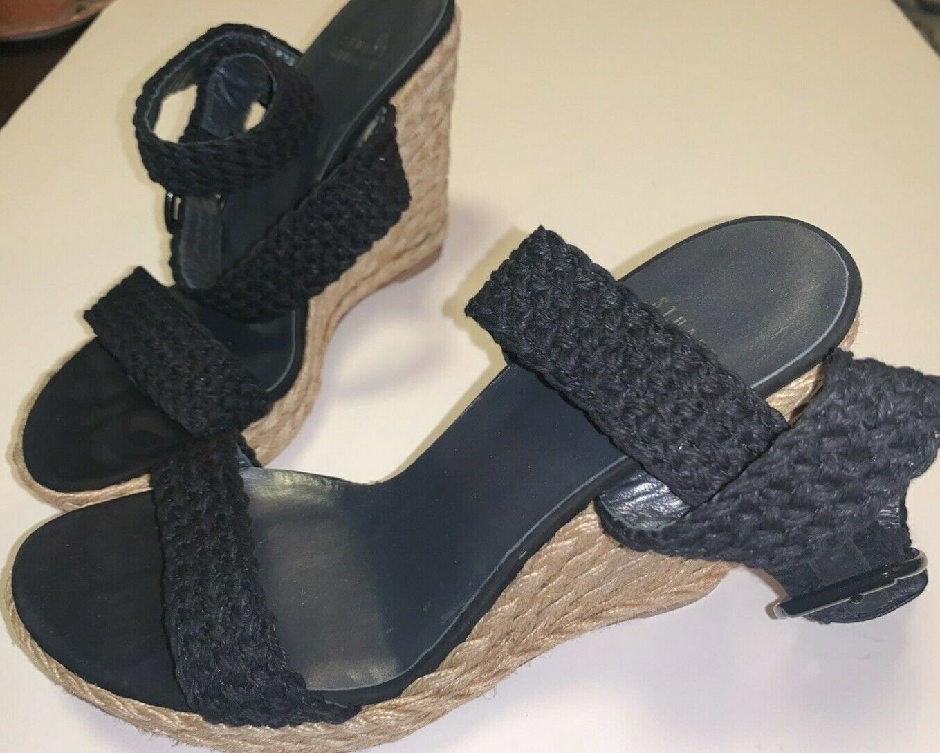 "BRAND NEW Stuart Weitzman Black ""Alex"" Wedge Heel Sandal Siz"