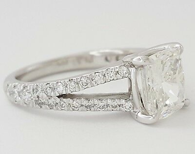 2.59 ct Platinum Cushion Cut Diamond Split Shank Engagement Ring GIA F / VVS1 2