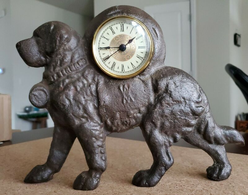 Antique Cast Iron St Bernard Dog Mantel Clock