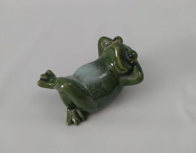 Ceramic Lazy Frog Figurine Porcelain Miniatures Collectible Garden Decor