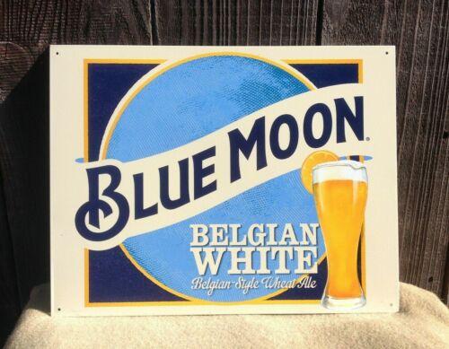 Blue Moon Belgian White Wheat Ale Beer Sign Tin Vintage Garage Bar Old Rustic