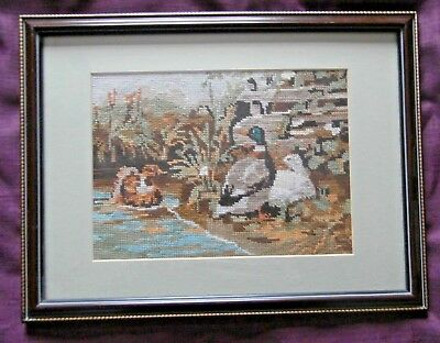 """Wool Tapestry Needlepoint Picture of DUCKS - Framed & under Glass-17.5"""" x 13.5"""""""