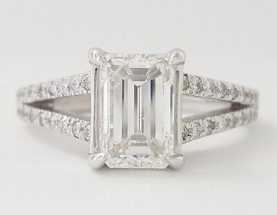 2.01 ct Platinum Emerald Cut & Round Brilliant Diamond Engagement Ring GIA
