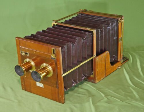 Extremely Rare Meagher Stereo Whole Plate Tailboard Mahogany Brass Camera c.1875
