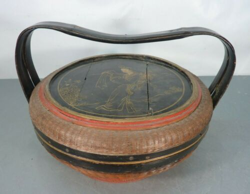 Antique Fine Woven Hand Painted Asian Basket w/ Lid & Handle Chinese Wedding