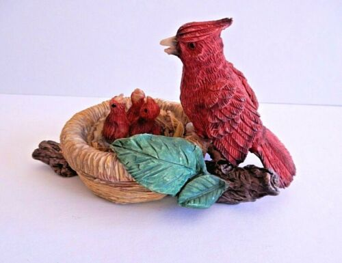 Red Bird Cardinal Mother Feeding Baby Nest Birds in Tree Figurine Resin 4""