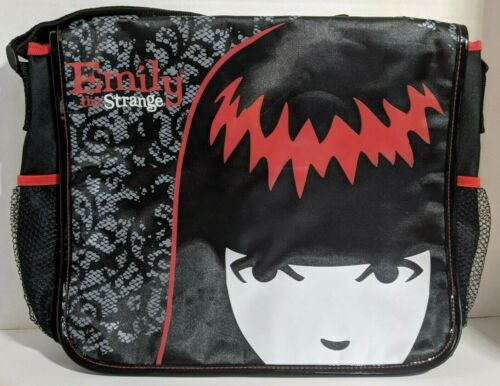 NWT Emily the Strange Messenger Shoulder Bag New Cosmic Debris Sabbath Cat Black