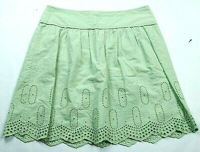 Loft Womens A Line Skirt Size 2 Green Back Zip Cutout Embroidered Pleated A-line Back Zip Skirt