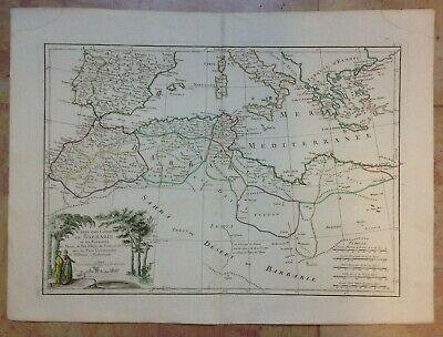 1762 NORTH AFRICA MEDITERRANEAN by BONNE LATTRE 18e CENTURY LARGE ANTIQUE MAP
