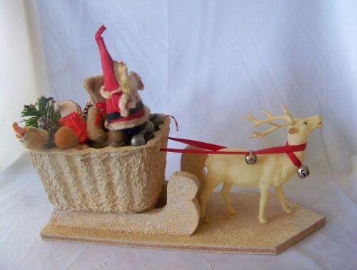 Large Vintage Christmas Santa w Filled Sleigh & Celluloid Reindeer
