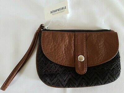 AEROPOSTALE Small Black Lace Brown Faux Leather Wristlet 6.25 x 4.25 -NWT! (Faux Leather Wristlet)
