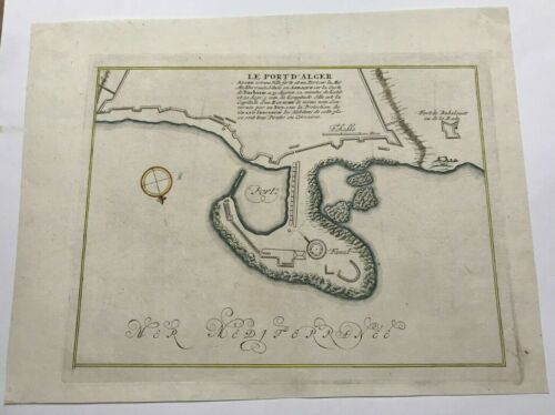 ALGIERS 1752 NICOLAS BELLIN NICE ANTIQUE SEA CHART 18TH CENTURY