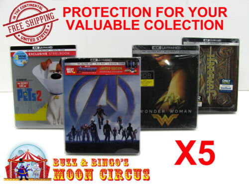 5x 4K UHD STEELBOOK - WITH J-CARD SIZE - CLEAR PROTECTIVE BOX PROTECTOR SLEEVE