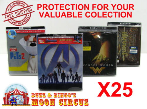 25x 4K UHD STEELBOOK - WITH J-CARD SIZE - CLEAR PROTECTIVE BOX PROTECTOR SLEEVE