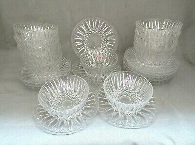 Glass Dinnerware Cut Glass Plate 7 Sandwich Plates Clear Glass Side Plates,Set of 5 Pressed Glass Starburst Pattern Glass Dessert Plate