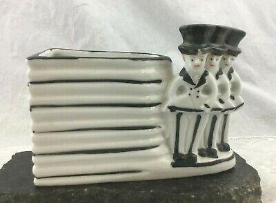 Vintage Art Deco Ceramic Cocktail Forks Swivel Sticks Holder Top Hat Tails Motif