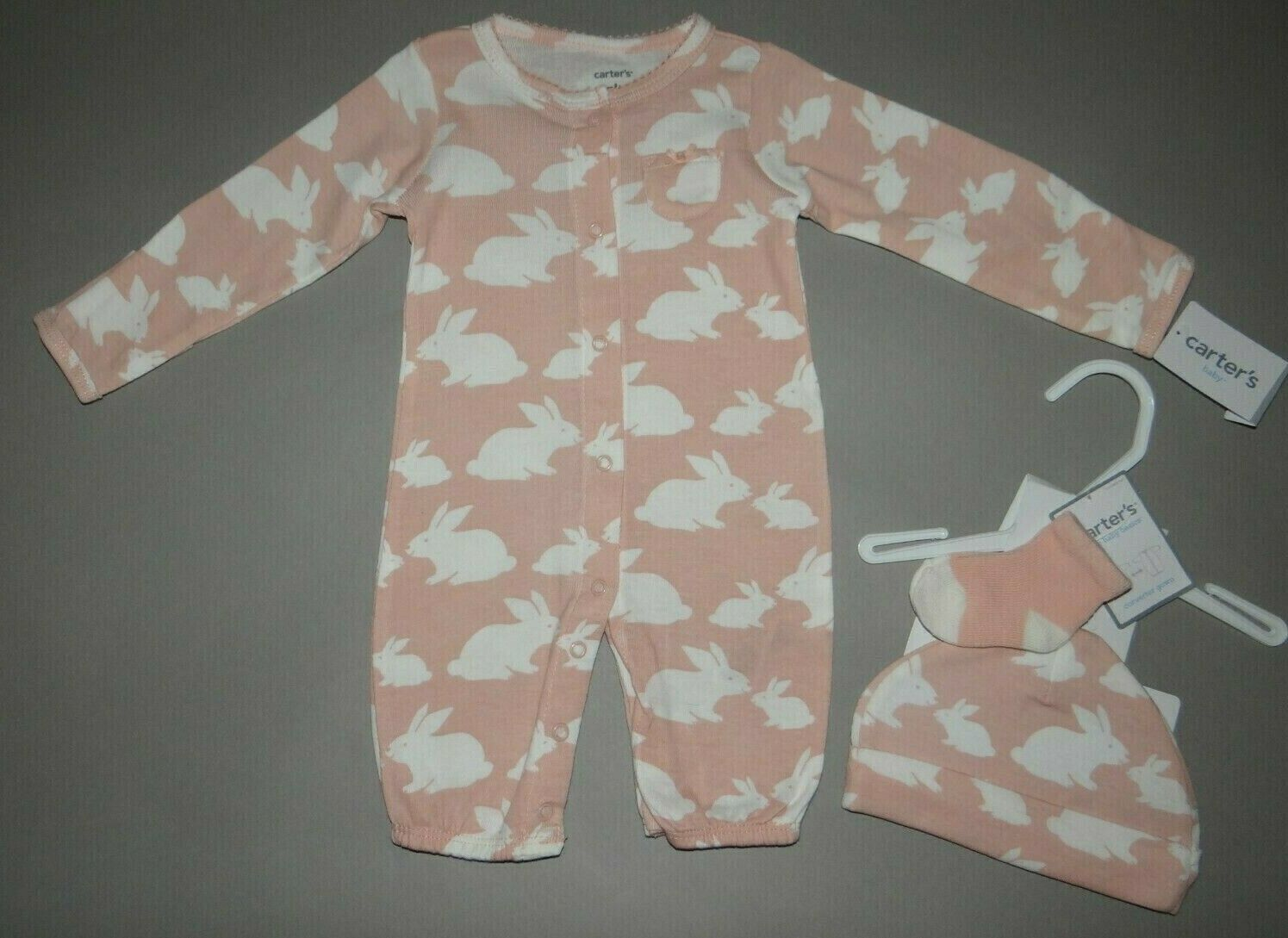 Baby girl clothes, Preemie, Carter's Converter gown set/  SE