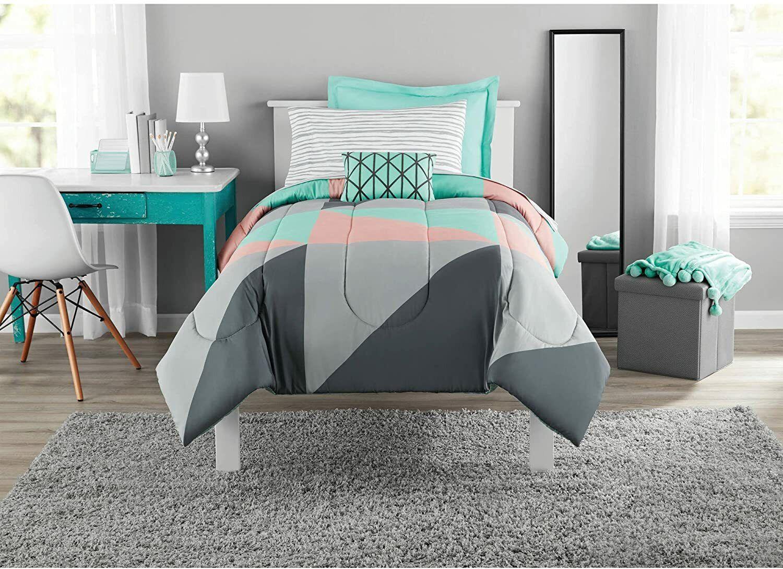 Modern Gray And Teal 8 Piece Bedding Set Girls Fun Bold Comforter Set Queen New Ebay