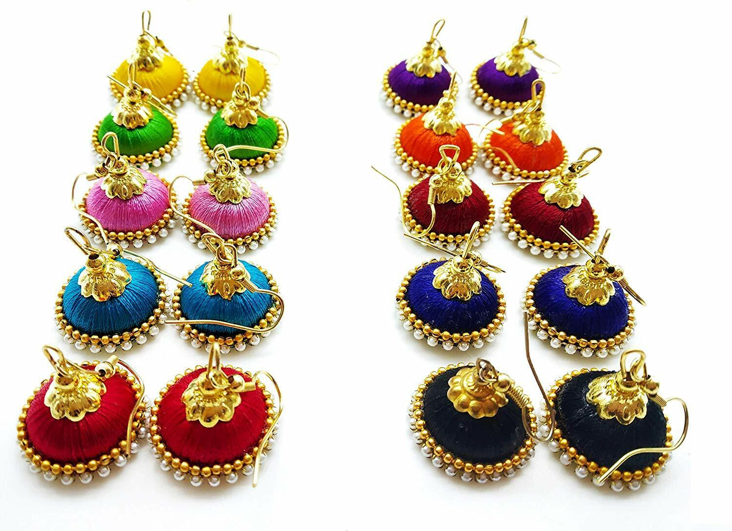 Multicolour Pearl Embellished Silk Thread Jhumki Combo for W
