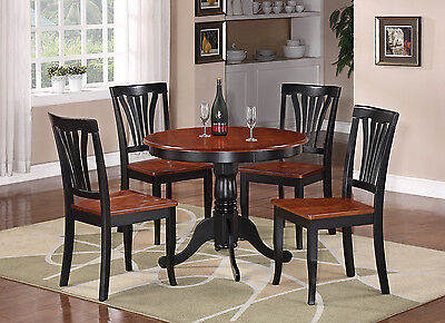 Square Dinette Table - 5PC DINETTE KITCHEN DINING SET TABLE WITH 4 WOOD SEAT CHAIRS IN BLACK & CHERRY
