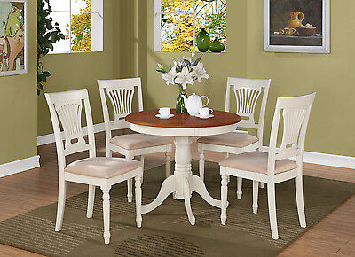 Cherry Dinette - 3PC DINETTE KITCHEN TABLE with 2 PLAINVILLE PADDED CHAIRS IN BUTTERMILK & CHERRY