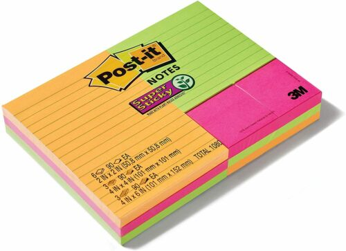 Post It Notes Super Sticky Plant Based Adhesive Multicolor 12 Note Pads