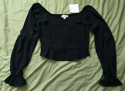Honey Punch Women's Black Milkmaid Top Size S Small New With Tags