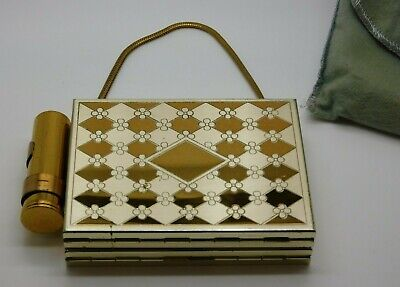 Vintage Brass Compact Purse Vanity Makeup Cigarette Case