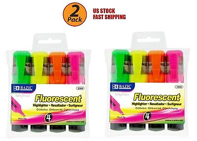 2 Pack - Fluorescent Highlighters With Pocket Clip Chisel Tip Assorted Color