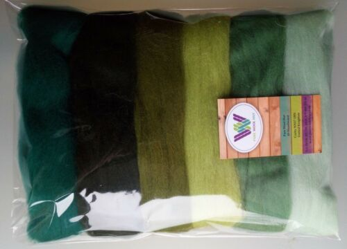 Green set* Pure Wool Tops for Felting, Packs of 6 Colours, 60 grams