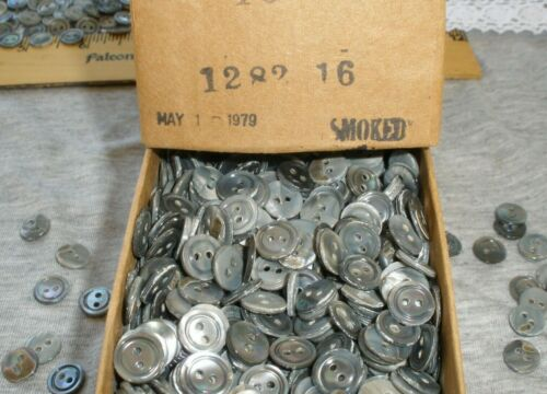 """100pc Pearl smoke buttons 10mm MOP carved gray rim 3/8"""" 2H Vintage shell c. 1979"""