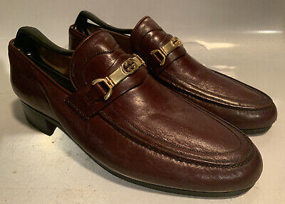 Vintage Mens Gucci Shoes Size 43 BURGUNDY MAROON Loafers GOLD GG Bit US 9.5 / 10
