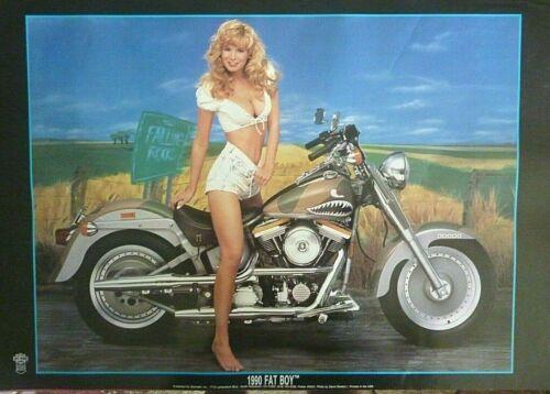 RARE FATBOY HARLEY DAVIDSON CINDY MARGOLIS 1990 VINTAGE ORIG MOTORCYCLE POSTER
