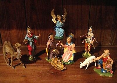 "Vintage FONTANINI  Nativity Set, Figures, DEPOSE ITALY, 5 1/2"", ""Spider"", 1960's"