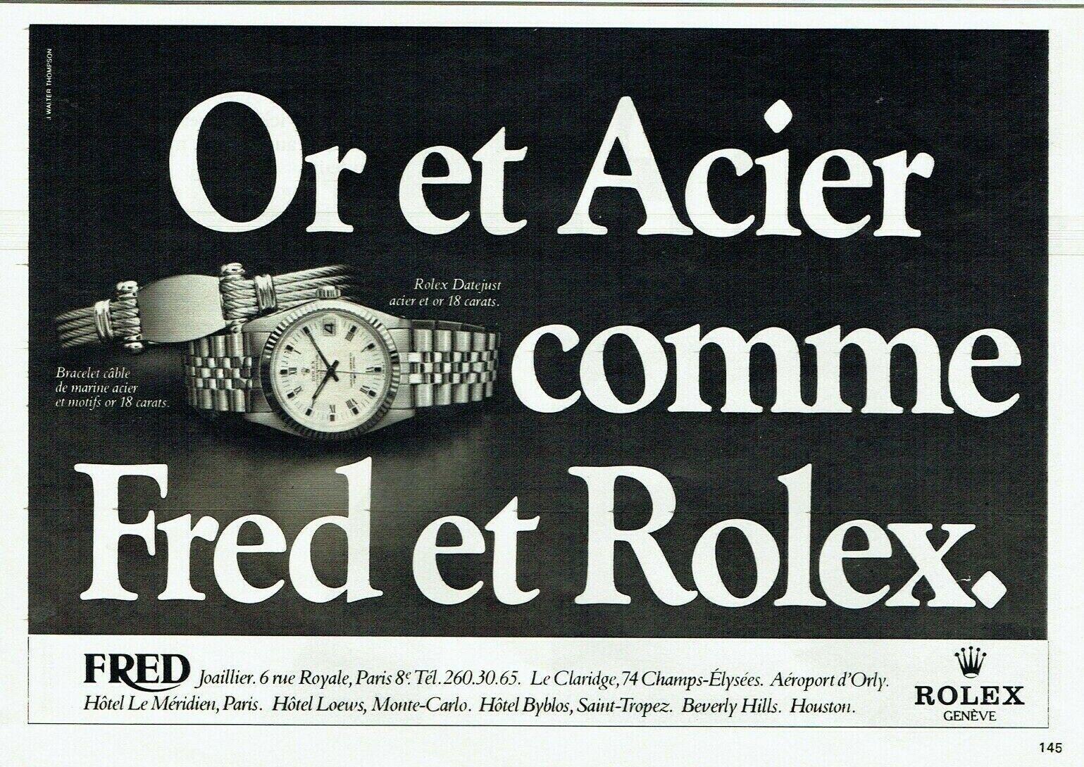 Publicité advertising 129 1980 rolex montre datejust & fred joaillier  bracelet