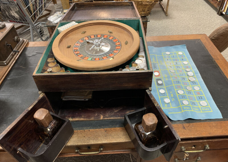 "ANTIQUE 14"" FRENCH ROULETTE WHEEL IN GAMING/LIQOUR CABINET WITH REAL 1940s COINS"