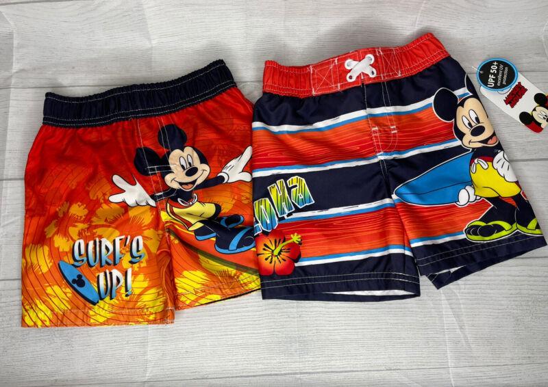 NEW Boy's Disney Mickey Mouse Surfer Swim Trunks Shorts Swimsuit Lot 12M 6-12 M