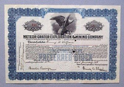 Rare Original Meteor Crater Exploration   Mining Co  Preferred Stock Certificate