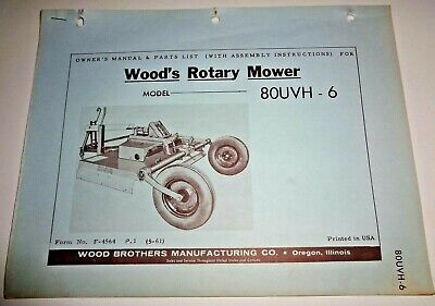 Woods 80uvh-6 Rotary Mower Cutter Operators Owners Parts Manual Catalog 5-61