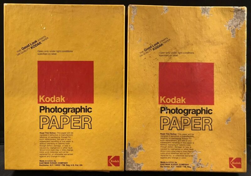 """NOS Kodak Polycontrast Rapid Photographic Paper 5""""x7"""" - 2 Boxes of 100 - Expired"""