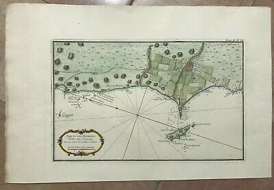 PERU LIMA NICOLAS BELLIN DETAILLED MAP 20TH CENTURY ON PAPER D'ARCHES